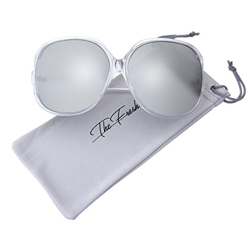 The Fresh New Women's Vintage Style XL Oversized Jackie O Shiny Crystal Frame Mirror Lens Sunglasses with Gift Box (11-Crystal, Silver ()