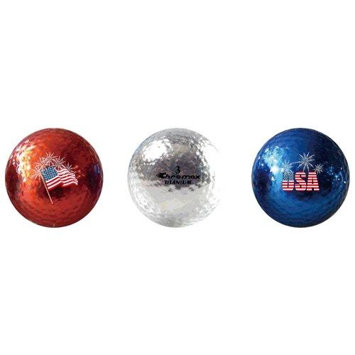 Chromax M1 Brilliant Metallic PATRIOTIC Colors Golf Balls – Mixed 3-Ball Tube, Outdoor Stuffs
