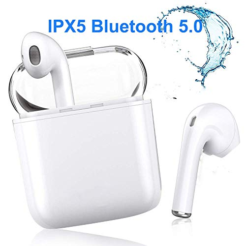Bluetooth Headphones Wireless Sports Earbuds Mini Waterproof in Ear Earphones Headsets for iPhone X/MAX/XR/X/8/7/6/6s Plus & Samsung Galaxy S7 S8 S9 S10 Android Huawei-White