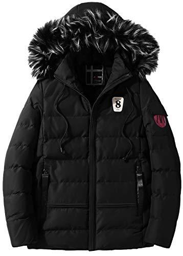 FGYYG Men's Winter Classic Fashion Slim Fit Thicken Quilting Jacket Military Casual Lightweight Warm Zipper Coat Parka Windbreaker Black