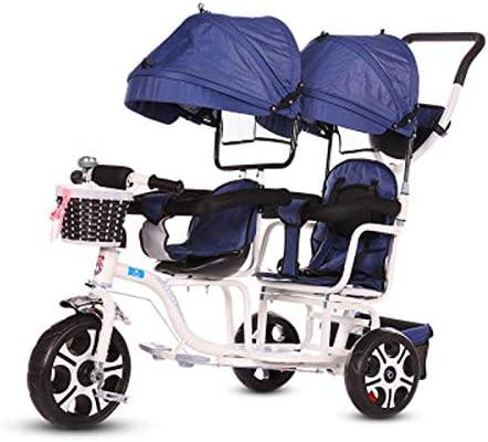 JHGK Triciclo para Niños, Carro De Sombrilla Doble, Bicicleta para Niños, Compras En La Ciudad Doble De Acero con Alto Contenido De Carbono, Empuje El Triciclo Tricycle,2