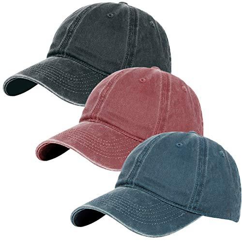 Glamorstar Classic Unisex Baseball Cap Adjustable Washed Dyed Cotton Ball Hat (One Size, Red Wine+Black+Navy)