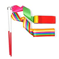 HUIANER Dance Ribbons Streamers Rhythmic Gymnastic Ribbon Wands Rods for Children Art Dances, Baton Twirling, 2 Pieces