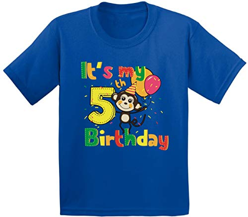 (Awkward Styles 5th Birthday Toddler Shirt Cute Monkey Birthday Shirt Gifts for 5 Year Old Blue 5T)