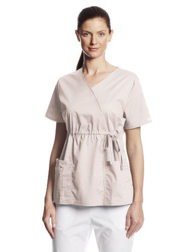 Drawstring Scrub Top (Cherokee Women's Workwear Scrubs Core Stretch Gathered Front Mock Wrap Top, Khaki, Small)