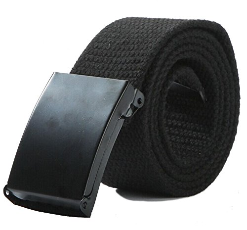 Canvas Web Belt Military Style with Flip-Top Black Buckle and Tip Solid Color 50