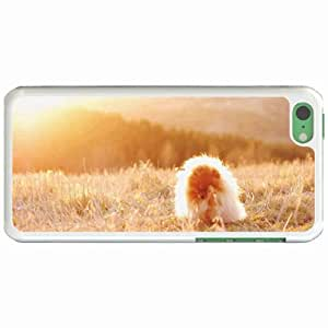 Personalized Apple iPhone 5C Back Diy PC Hard Shell Case Pomeranian White