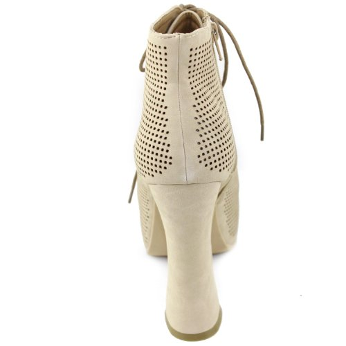 Women's Booties Lace Shoes Lueza Beige Leatherette Bumper Fashion Up 07 HvrCqawH