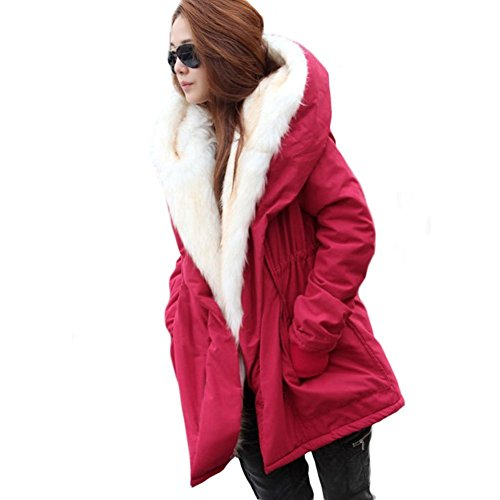 Red Overcoat (Rela Bota Womens Winter Casual Hoodie Coat Military Jacket Parkas Long Trench Overcoat X-Large Red)