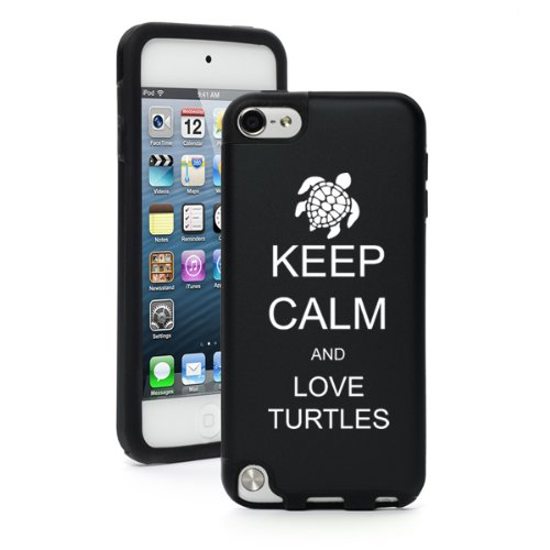 Apple iPod Touch 5th Generation Black Aluminum & Silicone Hard Case Cover BP443 Keep Calm and Love Turtles
