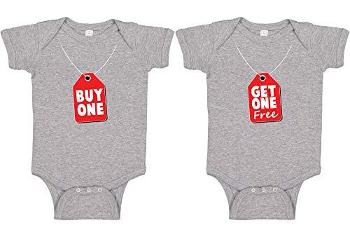 Panoware Funny Twins Baby Gift Bodysuit | Buy One Get One, Heather Grey, 0-3 ()