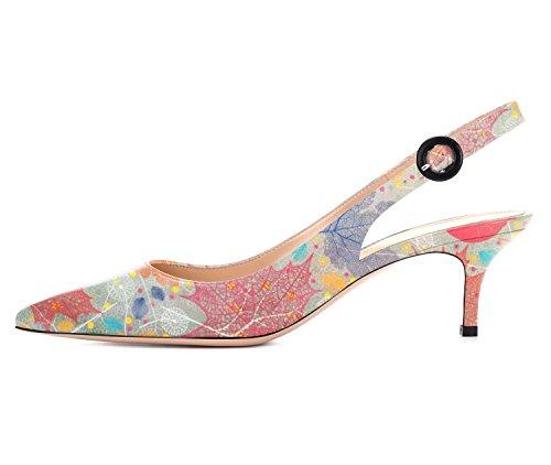 Aiguille Heel Sandales Femmes Femme Kitten Escarpins Sexy Talon Aiguille d Slingback Talon Femme uBeauty Pumps Talon Multicolore FRqPx