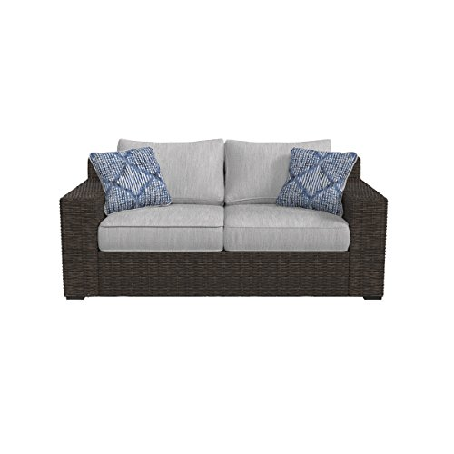 Ashley Furniture Signature Design - Alta Grande Outdoor Loveseat with Cushion - Beige & Brown
