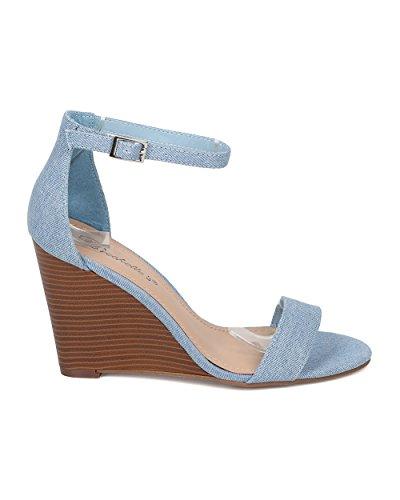 Alrisco Kvinner Ankel Stropp Kile Sandal - Forenklede Hæl - Antrekk Tilfeldig Allsidig Kile Hæl - Ha89 Ved Breckelles Samling Blå Denim