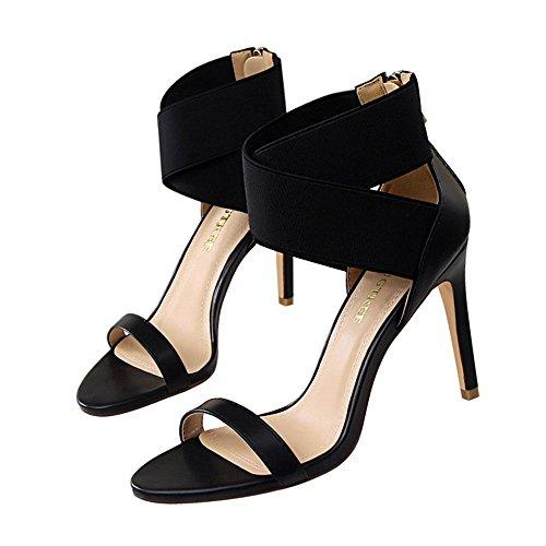 z&dw Elegantes tacones altos elásticos sandalias de goma cruzada de la venda Negro