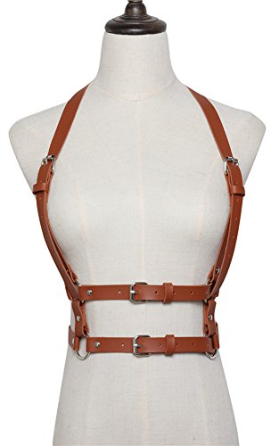 Leather Brown Harness (Ababalaya Fashion PU Leather Adjustable Body Chest Harness Fancy Belt for Mens Womens,Camel)