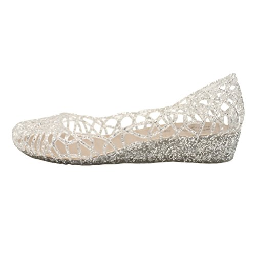 OMGard Womens Hollow Glitter Crystal Ballet Flat Jelly Shoes