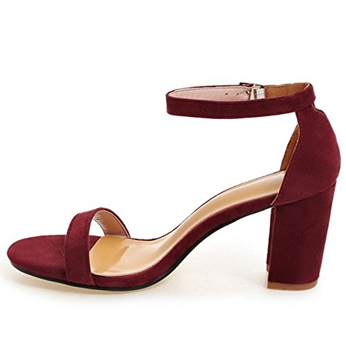 COOLCEPT Damen Mode Knochelriemchen Sandalen Blockabsatz Open Toe Schuhe Gr Rotwein