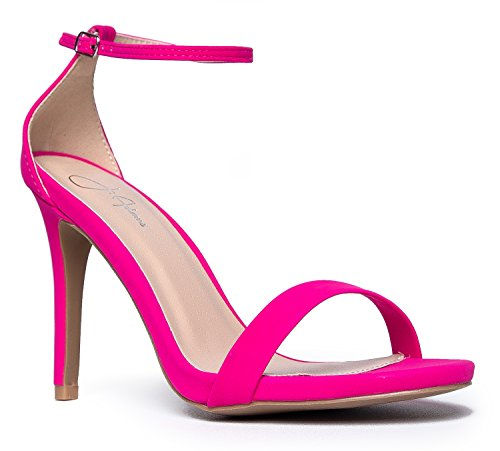 Aria Ankle Strap High Heel, Hot Pink PU, 9 B(M) US (Shoes Sandals Heels Pink)