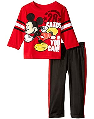 Disney Baby Boys' 2 Piece Play Hard Mickey Pant Set