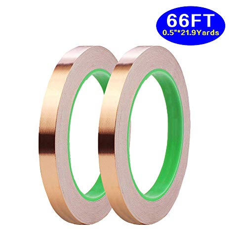 2 Pack Copper Foil Tape,(0.5inch X 66 FT) Double-Sided Conductive Copper Tape with Adhesive for EMI Shielding,Slug Repellent,Paper Circuits,Electrical Repairs,Grounding