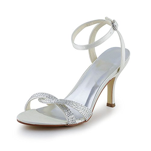 Novia 1418 Toe Satín Sandalias Medio Zapatos Open Diamante JIA de Zapatos JIA Talón de Las Imitación Mujeres Marfil de de Boda CAqWwtz