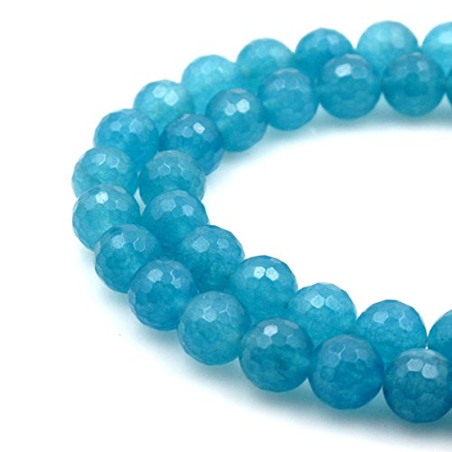 BRCbeads Gorgeous Faceted Aquamarine Sponge Quartz Gemstone Round Loose Beads 8mm Approxi 15.5 inch 45pcs 1 Strand per Bag for Jewelry - Pendant Faceted Stone