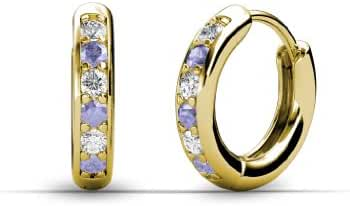 Petite Tanzanite and Diamond (SI2-I1-Clarity, G-H-Color) Huggies Earrings 0.28 ct tw in 14K Gold