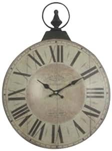 Campanet 425365 - Reloj de pared grande, diseño de números romanos, color beige