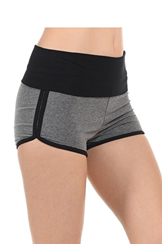 EttelLut Athletic Curves Trimming Hot Yoga Shorts: booty shorts HGRAY/Blk M