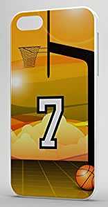 Basketball Sports Fan Player Number 7 White Plastic Decorative iphone 4s Case