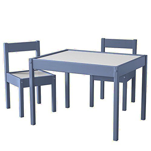 Kids Activity Table Set with Two Chairs 3-Pieces Wooden Dinning Art Rectangular Farmhouse Country Children Table Set Heavy-Duty Grey and White Kids Room Table Set eBook by Easy&FunDeals - Farmhouse Kids Table