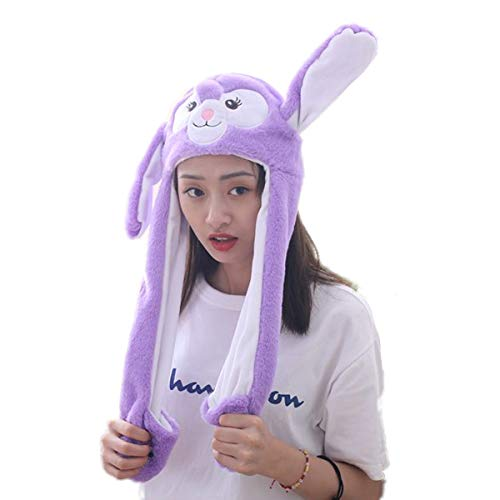 HYYER Bunny Hat Cap Animal with Airbag Jumping Rabbit Ear Movable Funny Plush Cute Purple TIK Tok Douyin