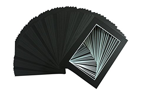 Pack of 100 5x7 BLACK Picture Mats Mattes with White Core Bevel Cut for 4x6 Photo + Back + Bags]()