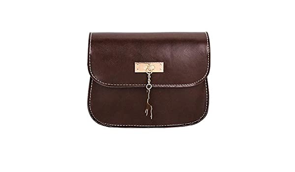 Amazon.com: Womens Leather Crossbody Bag small Deer Shoulder Bags Purse Messenger Bag womens handbags totes shoulder bags bolsos muj#75 Color Coffee ...