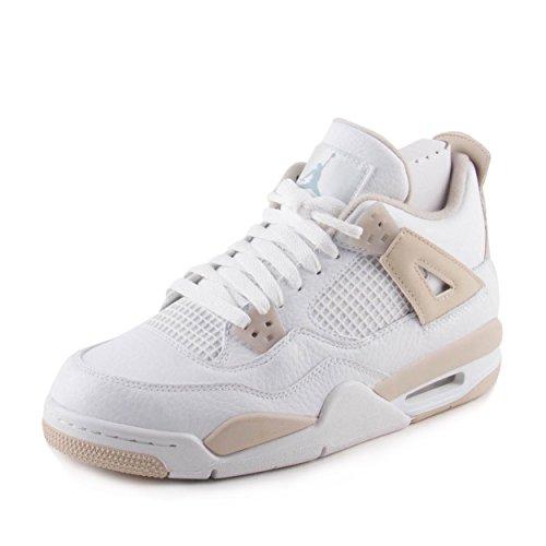 Jordan Air 4 Retro GG Linen Big Kid's Shoes White/Boarder Blue/Sand 487724-118 (7 M - Women 7 Jordans Retro For
