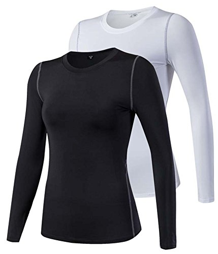 - HuaTu Women Performance Compression Base Layer Long Sleeve Crew Neck Tops Tee T Shirts (US Sizes M, 2 Pack Black & White)
