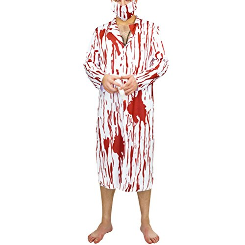 LUOEM Halloween Horror Costume Bloody Cosplay Costume with Blood Male Surgeon's Suit Jumpsuit and Mask and Stethoscope - Free Size ()