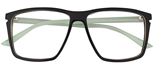 Classic Square Horn Rimmed Nerdy Eye glasses Eyewear Geek Clear Lens Glasses (Black Green E1402, - Casual Glasses