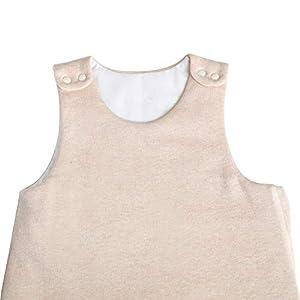 OuYun Baby Organic Vest Sleeping Bag Summer Sleeveless Wearable Blanket,Two Layer 1.5 tog,Small