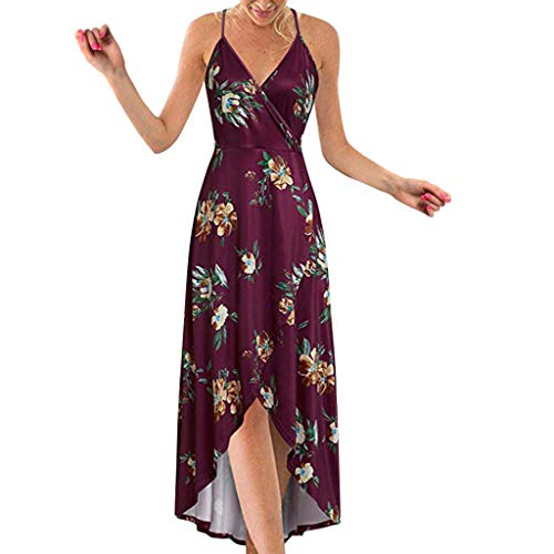 Dresses for Women Sexy Deep V Neck Spaghetti Strap Summer Asymmetrical Floral Split Beach Casual Maxi Party Dress Wine -