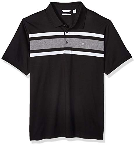 Calvin Klein Men's Liquid Touch Polo Stripe with UV Protection, Black, Medium (Liquid Jersey Dress)