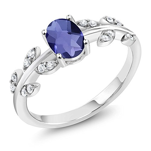 Gem Stone King 0.76 Ct Oval Checkerboard Blue Iolite and Diamond 10K White Gold Olive Vine Ring (Size 7)