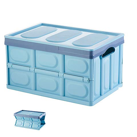 vvise Collapsible Car Trunk Organizer Storage Bin with Lid, Foldable Plastic Utility Crate - Blue (Waterproof Bag Insert Included) - Cube Trunk Organizer