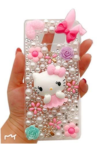 Samsung Galaxy J3 Emerge / J3 2017 / J3 Prime / J3 Eclipse / J3 Luna Pro / J3 Mission / Sol 2 / Amp Prime 2 / Express Prime 2 Camellia Flower Pearl Bling Glitter Diamond Crystal Rhinestone Cover
