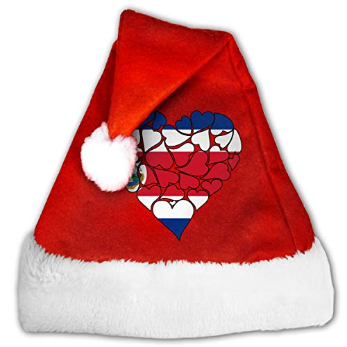 Costa Rica Flag Heart Love Christmas Hat, Red&White Xmas Santa Claus' Cap for Holiday Party Hat]()