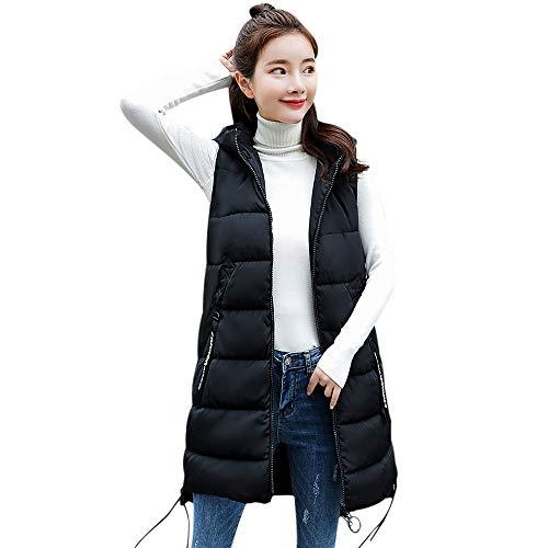 BETTERUU UFACE Women Thick Outerwear Sleeveless Long Slim Cotton-Padded Jackets Hooded ()