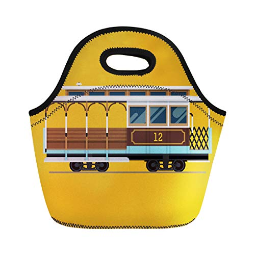 Semtomn Neoprene Lunch Tote Bag Lovely Retro Detailed Cable Car Side View Mass Transit Reusable Cooler Bags Insulated Thermal Picnic Handbag for Travel,School,Outdoors, Work ()