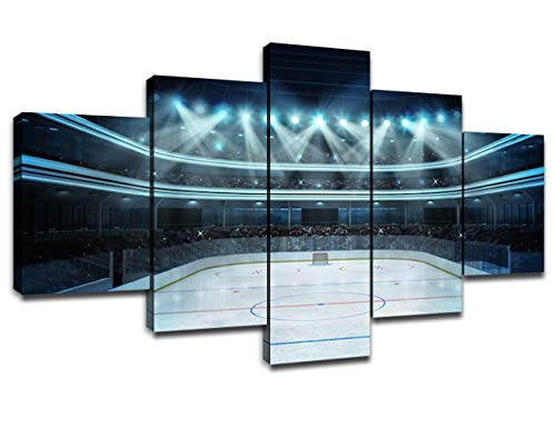 Chicicio Ice Hockey Wall Art Modern Pictures for Home Artwork Painting Hockey Stadium Decor 5 Panel Canvas Prints Poster Boys Gifts House Decoration Framed Ready to Hang(60