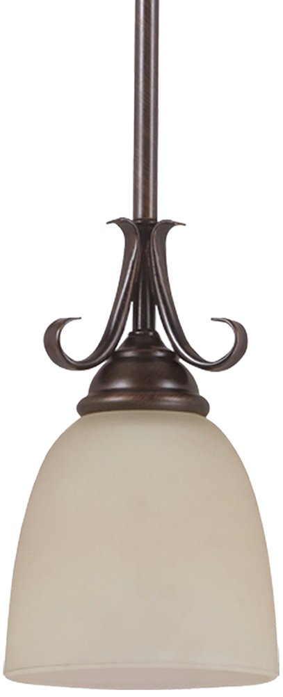 Sea Gull Lighting 61316-710 Pendant with Cafe Tint Glass Shades, Burnt Sienna Finish
